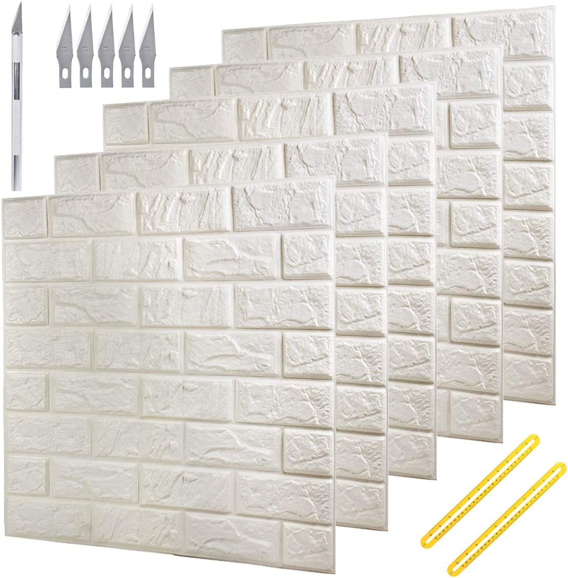 Deelf 20 Pcs 3d Brick Wallpaper Peel And Stick Panels White Brick Textured Effect Wall Décor Adhesive Wall Paper For Bathroom Kitchen Living Room Home Decoration 90 Square Feet Coverage Kitchen
