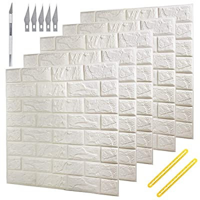 Buy Deelf 20 Pcs 3d Brick Wallpaper Peel And Stick Panels White Brick Textured Effect Wall Decor Adhensive Wall Paper For Bathroom Kitchen Living Room Home Decoration 80 Square Feet Coverage Online