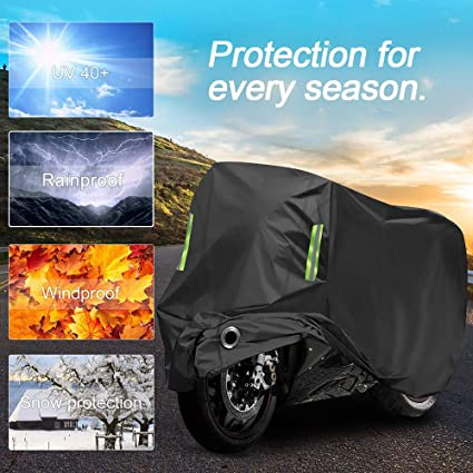 Motorcycle Cover Storage Bag Heavy Duty Reflective Universal Fit up to 96 Inch XXL Motorcycles Vehicle Cover For Harley Davison Motorcycle Accessories All Season Waterproof Outdoor Protection