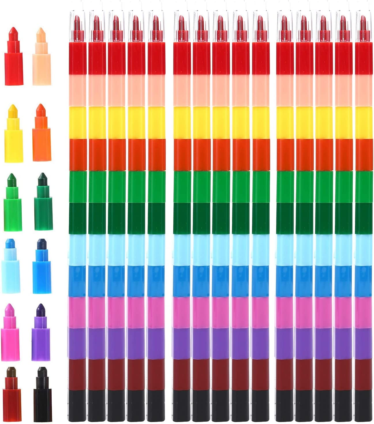 MeiMeiDa 24 Pieces Stacking Crayons for Kids Party Favors Colorful Stackable Buildable Crayon Set Prizes Goodie Bag Filler Fun Rainbow Crayons for Art Paint Party