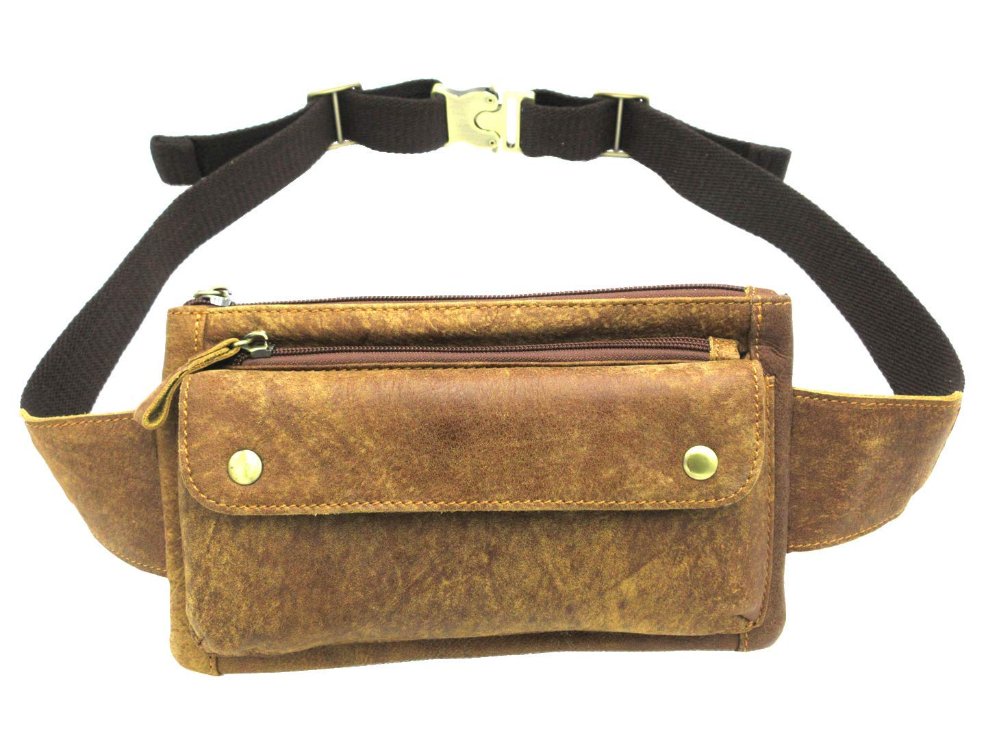 Huameibang Genuine Leather Waist Packs Fanny Pack with Adjustable Strap for Travel Running Hiking Cycling (Yellowish-Brown) by HUAMEIBANG