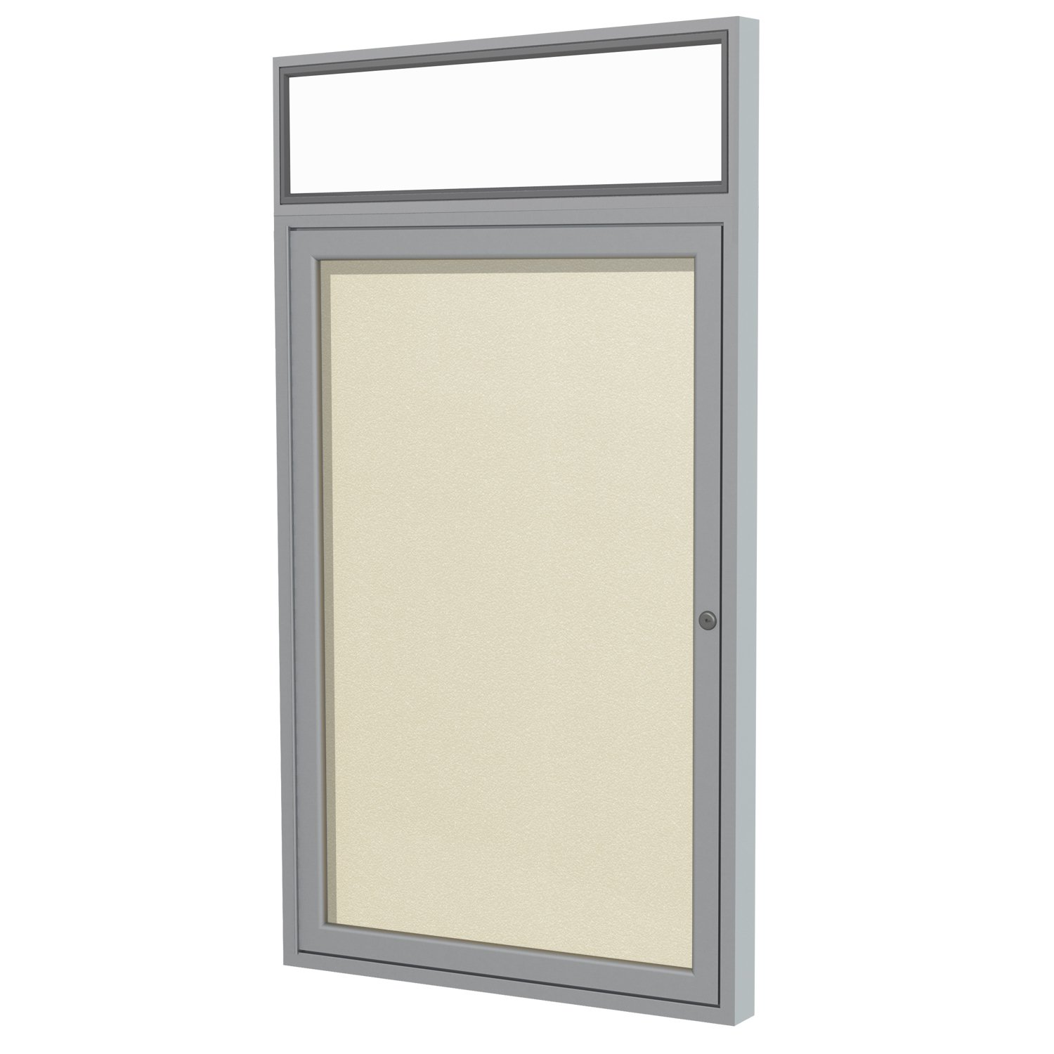 Ghent 36 x 36 Inches Outdoor Satin Frame Enclosed Vinyl Bulletin Board with Headliner , Ivory , Made in the USA