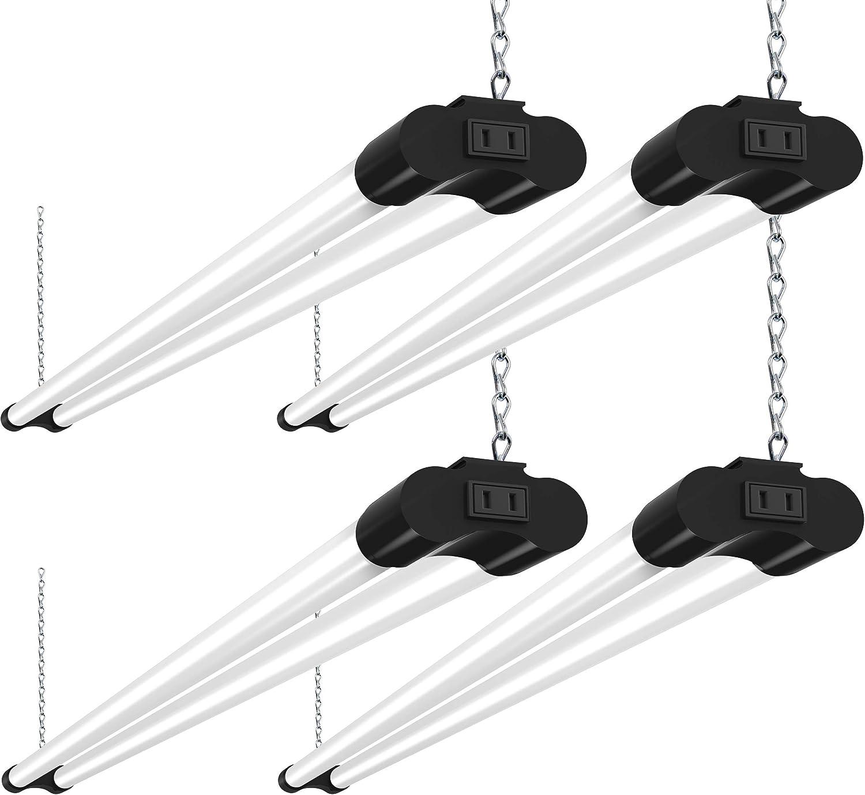 Bbounder 4 Pack Linkable LED Utility Shop Light, 4 FT, 4000 LM, 48 Inch Integrated Fixture for Garage, 36W Equivalent 250W, 5000K Daylight, Surface + Suspension Mount, Black