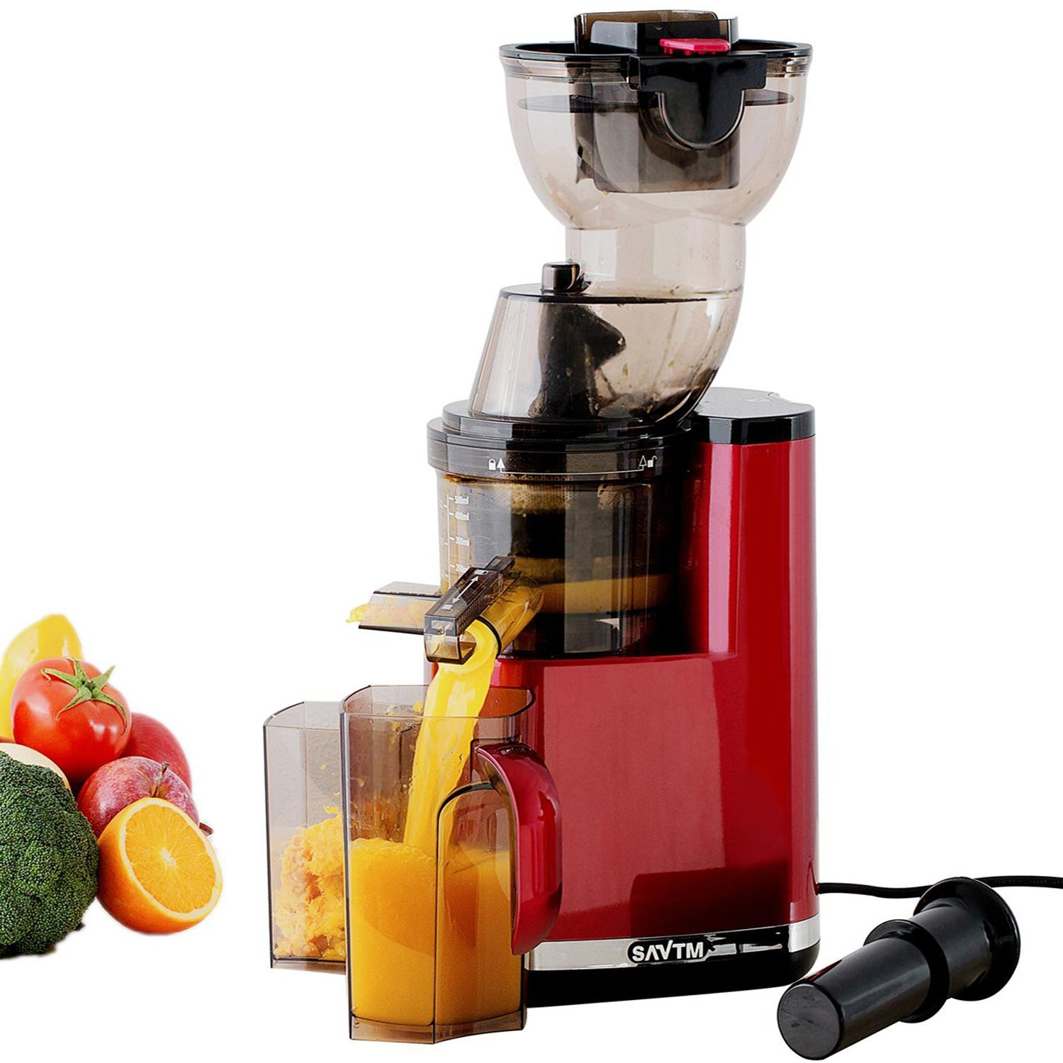 SAVTM JE120-08M00 New Electric Masticating Wide Mouth Whole Chute Anti-Oxidative Fruit and Vegetable Slow Juicer, Red(250W AC Motor, 35 RPMs, 3.5''Inches Big Mouth)