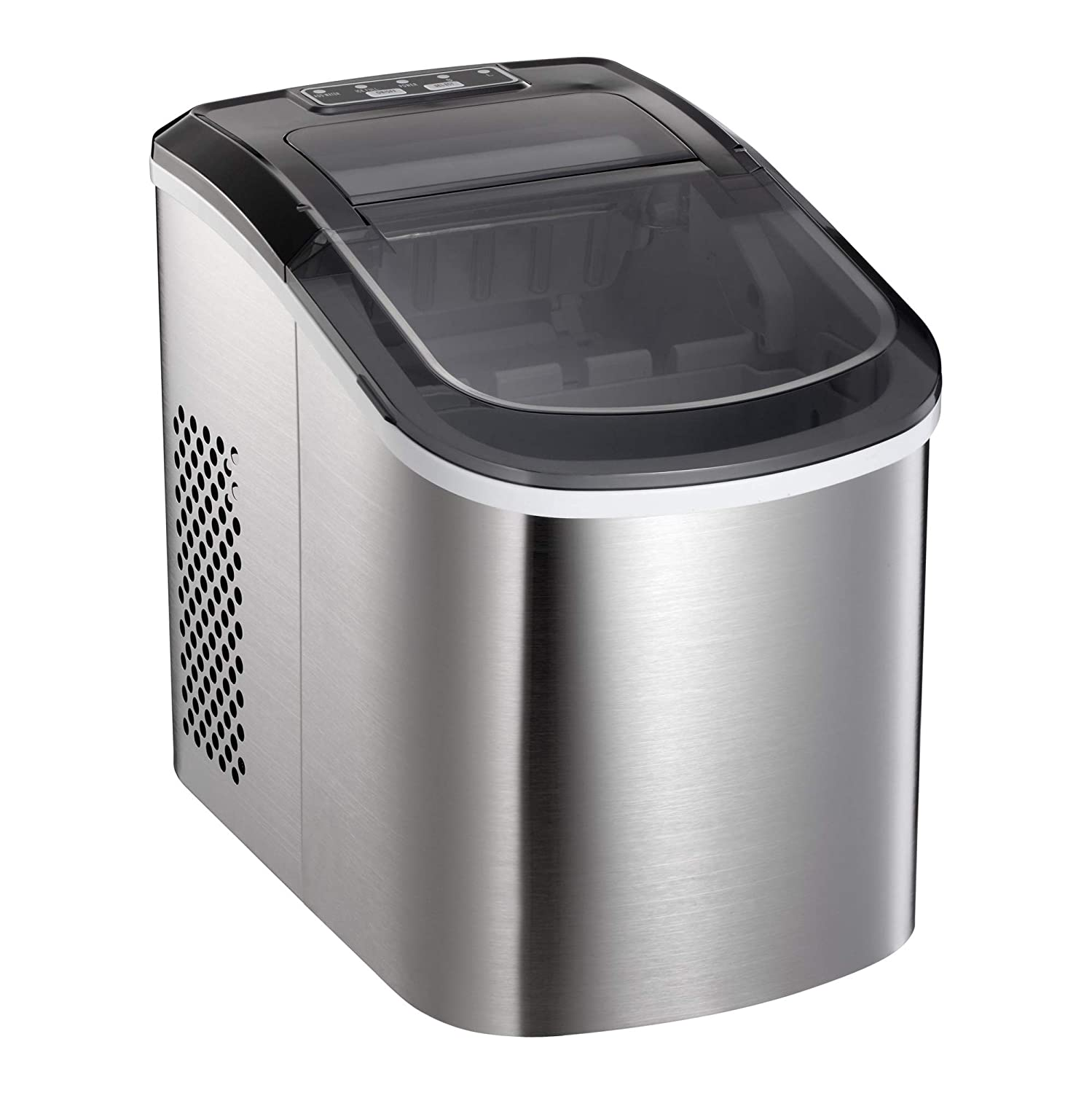 AGLUCKY Ice Maker, Miniature household Compact Electric Ice Maker,High Efficiency Countertop Ice Machine, Ice Quickly Release,1.5Lb Ice Storage,26lbs/24h,Ice Scoop and Basket,Stainless Steel Cover