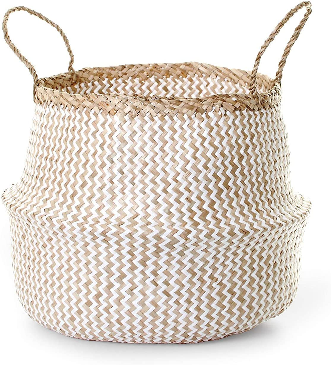 Large Seagrass Basket in Natural//White