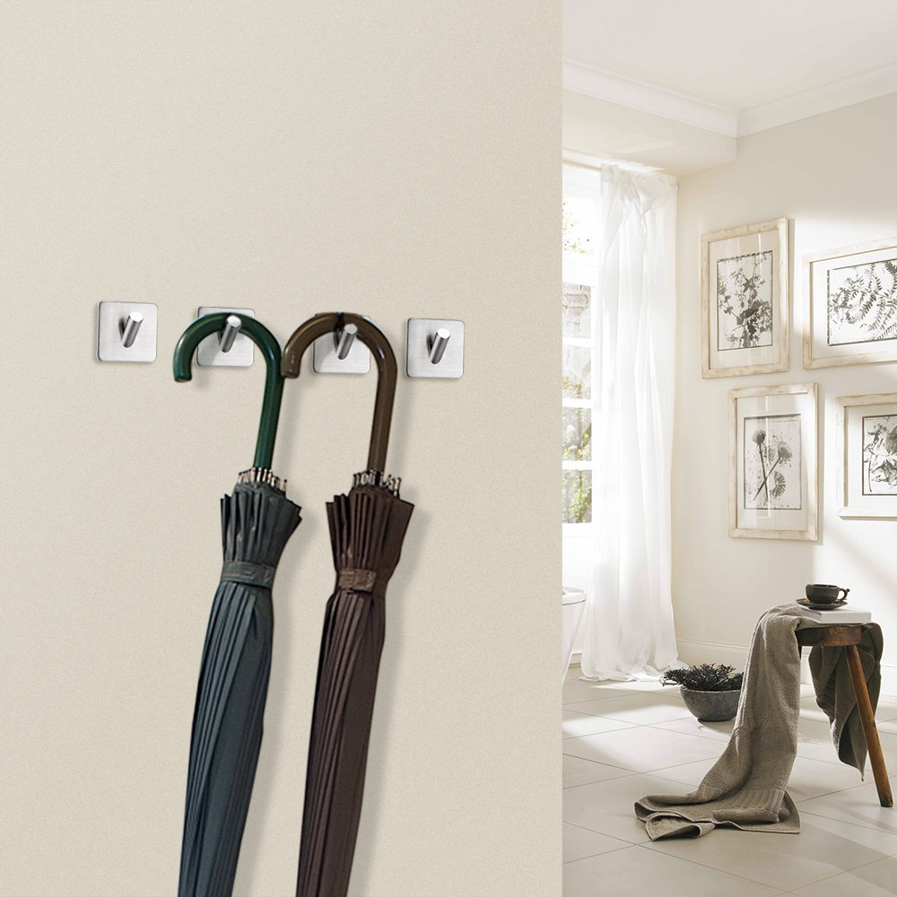 FOTYRIG Heavy Duty Adhesive Wall Hooks Hangers Stainless Steel Towel Hooks Stick On Home Bathroom Kitchen for Dog Leash, Umbrellas, Scarves, Towels, Robes, Bags, Coats, Keys, Calendars -4 Packs by FOTYRIG (Image #7)