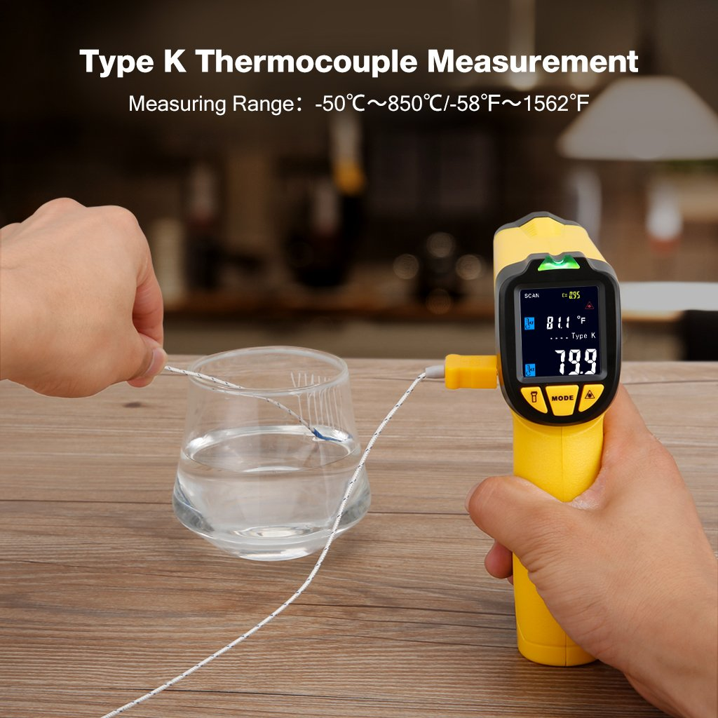 URCERI Infrared Thermometer IR-817-58°F~1022°F (-50°C~550°C) Digital IR Temperature Gun Non Contact Laser with Color Display K-Type Thermocouple for Cooking Kitchen Food Meat Grill by URCERI (Image #8)