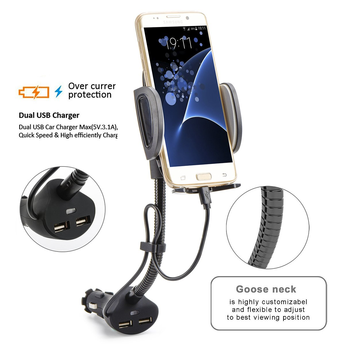 AUOPLUS Cigarette Lighter Phone Holder Car Mount Charger 3.1A Dual USB Ports with Built-in Charging Cord for Android by AUOPLUS (Image #7)