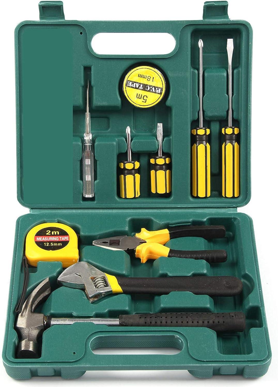 MorNon Juego de caja de herramientas de transporte de mano básico Juego de herramientas de reparación de reparación