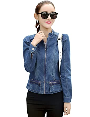 Tanming Women S Zip Up Moto Denim Jean Jacket At Amazon Women S