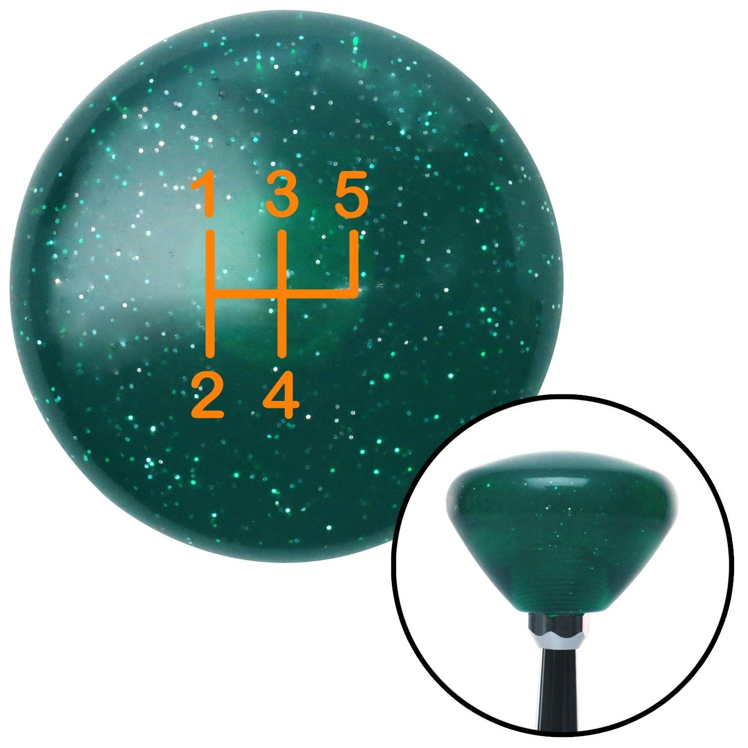 American Shifter 208742 Green Retro Metal Flake Shift Knob with M16 x 1.5 Insert Orange Shift Pattern 49n