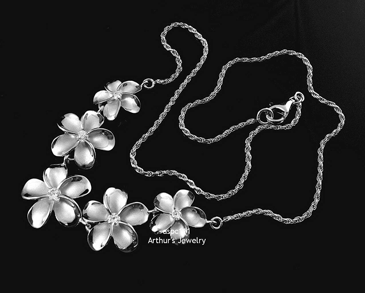 925 sterling silver rhodium plated 5 Hawaiian plumeria flower large necklace 17