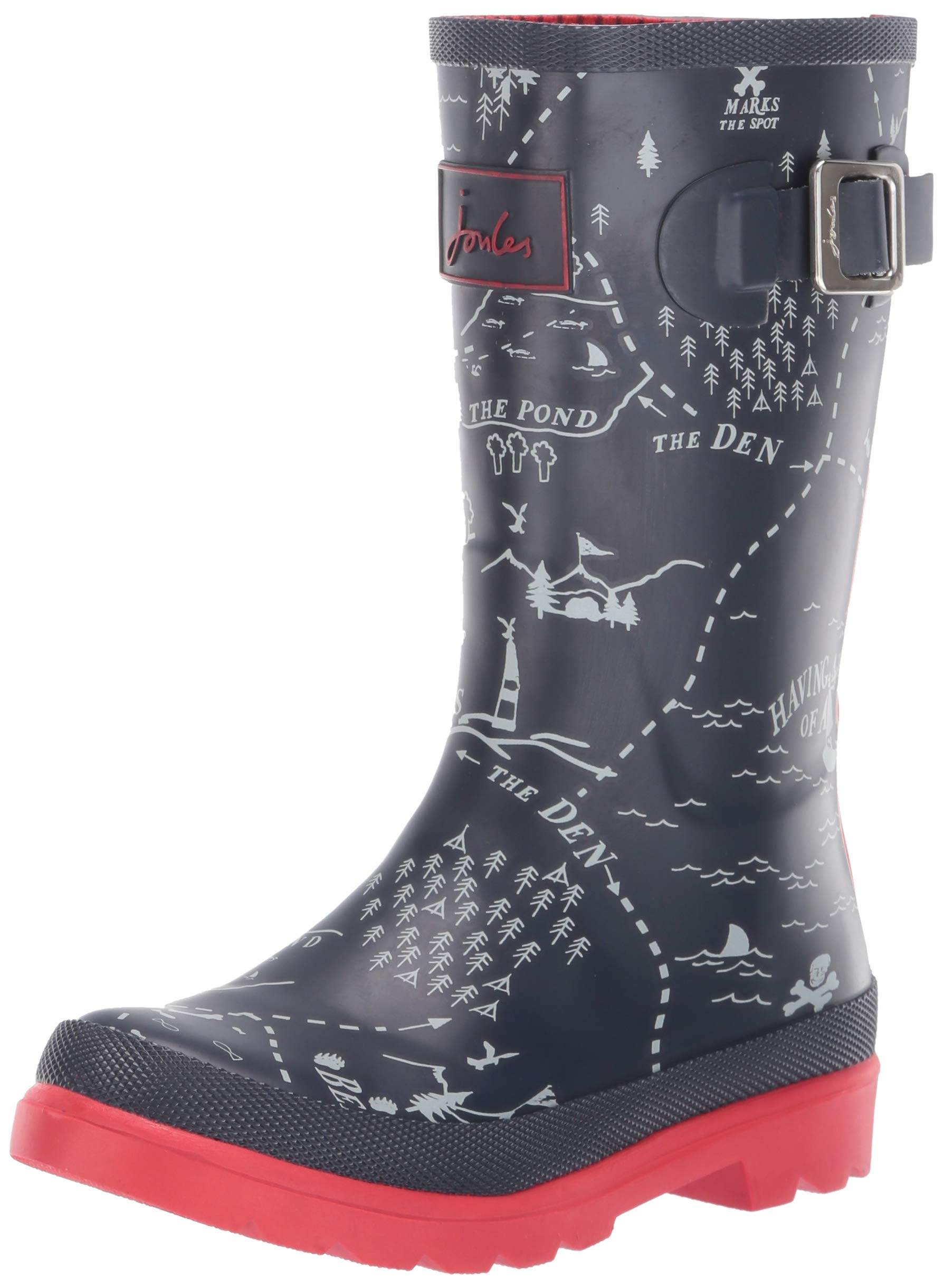 Joules Boys' JNR Welly Print Rain Boot, Navy Map, 2 M US Little Kid