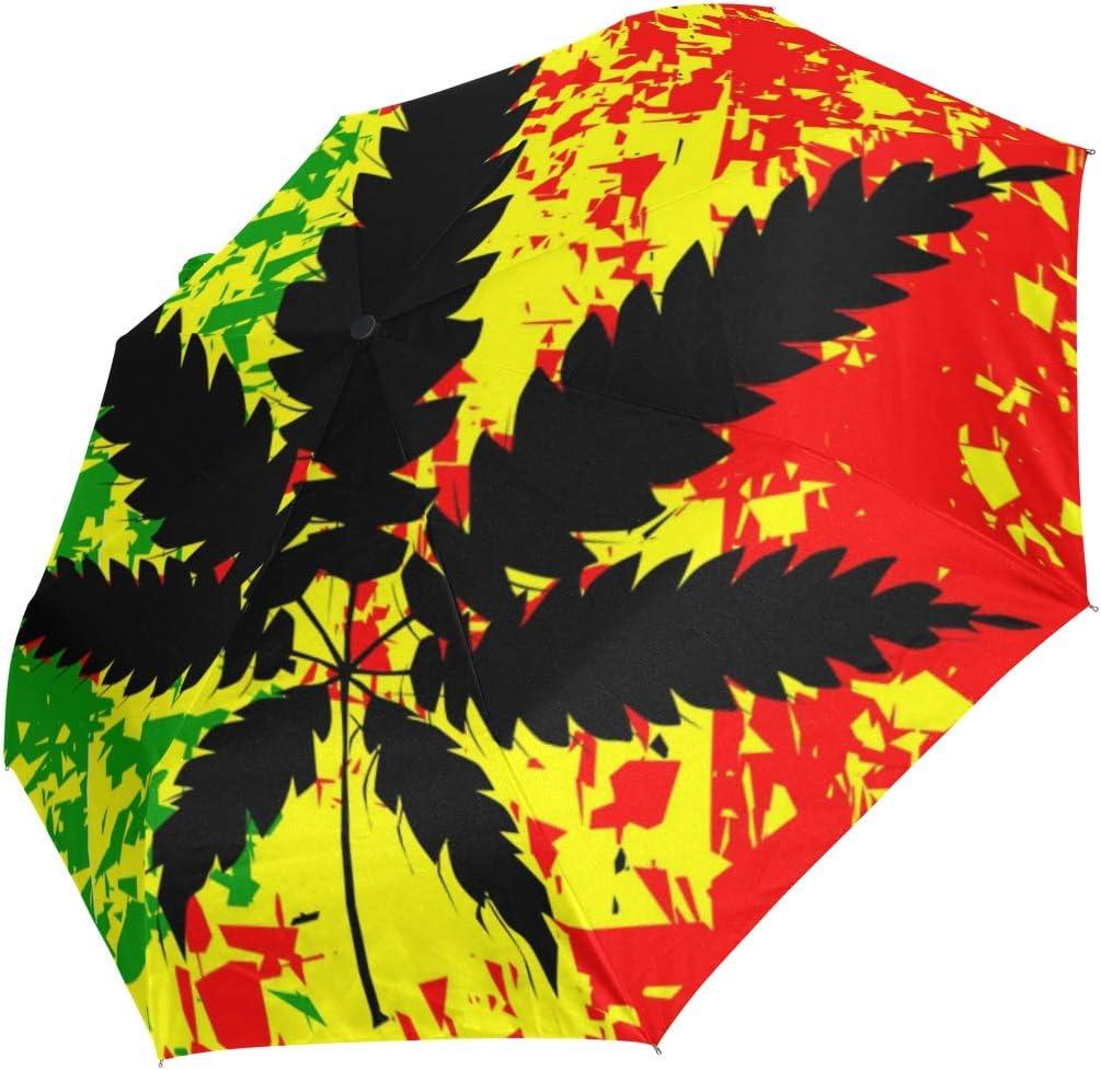 Ahomy - Paraguas de Viaje Compacto con diseño de Hojas de Marihuana, Resistente al Viento, Cierre automático, Mango Antideslizante para un fácil Transporte