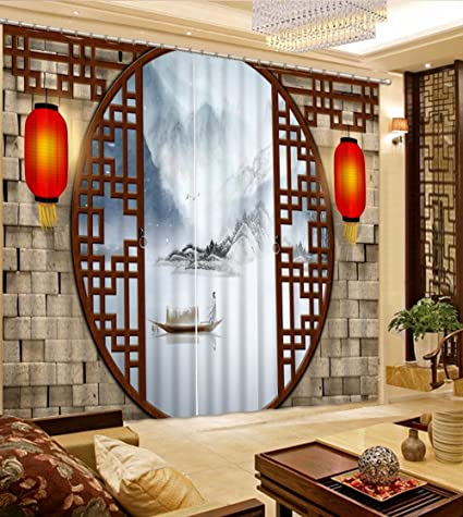 Amazon Com Wapel Top 3d Curtains For Living Room Bedroom Chinese