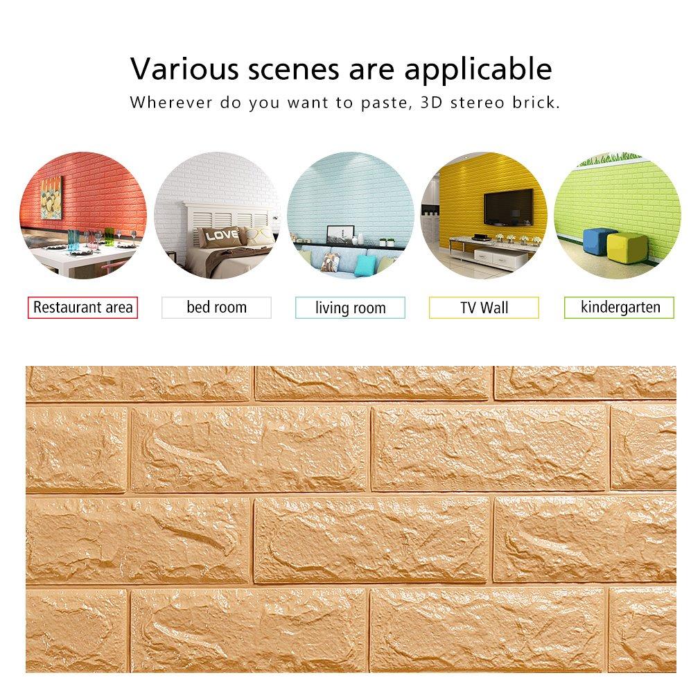 KINLO 5pcs 3D Carta da Parati Mattoni 77*70*1CM Wall Stickers Bianco 3D Brick Wallpaper Stickers Impermeabile Fai da te adesivi murali autoadesiva wallpaper decorazione soggiorno ufficio parati TV