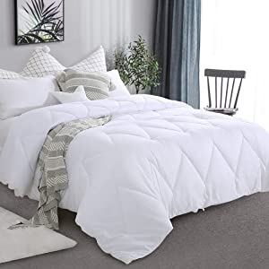 Starcast All Season Full Size Soft Quilted Down Alternative Comforter 100% Cotton Cover Reversible Duvet Insert with Corner Tabs,Stand Alone Lightweight Fluffy Hypoallergenic,82x86 inch,White