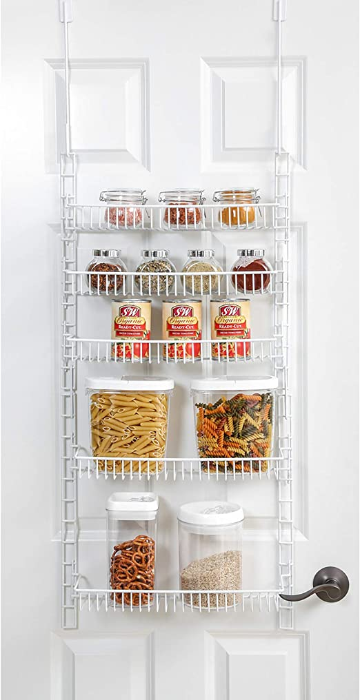 Amazon Com Smart Design Over The Door Adjustable Pantry Organizer Rack W 5 Adjustable Shelves Small 51 Inch Steel Construction W Hooks Screws For Cans Food Misc Item