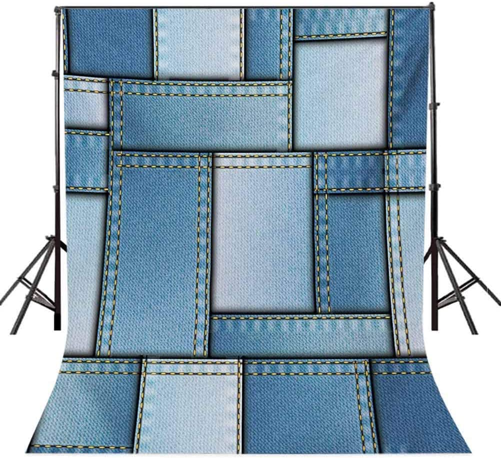 6x8 FT Photo Backdrops,Patchwork of Different Size Blue Toned Shapes Pattern with Vertical Warp Beam Artprint Background for Baby Shower Birthday Wedding Bridal Shower Party Decoration Photo Studio