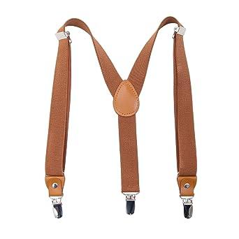 AWAYTR Hosentrager Gurtel fur Kinder Erwachsene - Elastisch Einstellbar Y geformt Braunes Leder 3 Clips auf dem Hosentrager