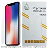 Gorilla Tech Twin Pack Premium Tempered Glass Screen Protector for Apple iPhone X and iPhone XS (iPhone 10 iPhone 10S) Invisible Shield Cover 9H Hardness Crystal Clear Shatter & Scratch Resistant