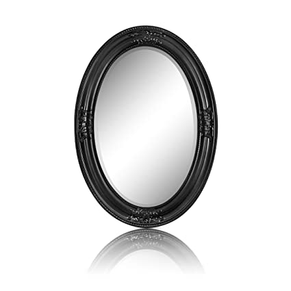 b80bc8447a73c Rococo by Casa Chic Solid Wood - Oval Shabby Chic Wall Mirror - Large -  50x70 Centimetres - Antic Black  Amazon.co.uk  Kitchen   Home