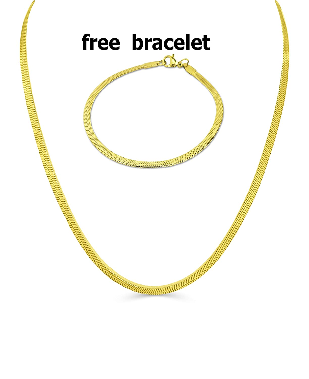 Amazon.com  BLING CULTURE Life Time Warranty 3mm Gold Herringbone Chain 710f59c07