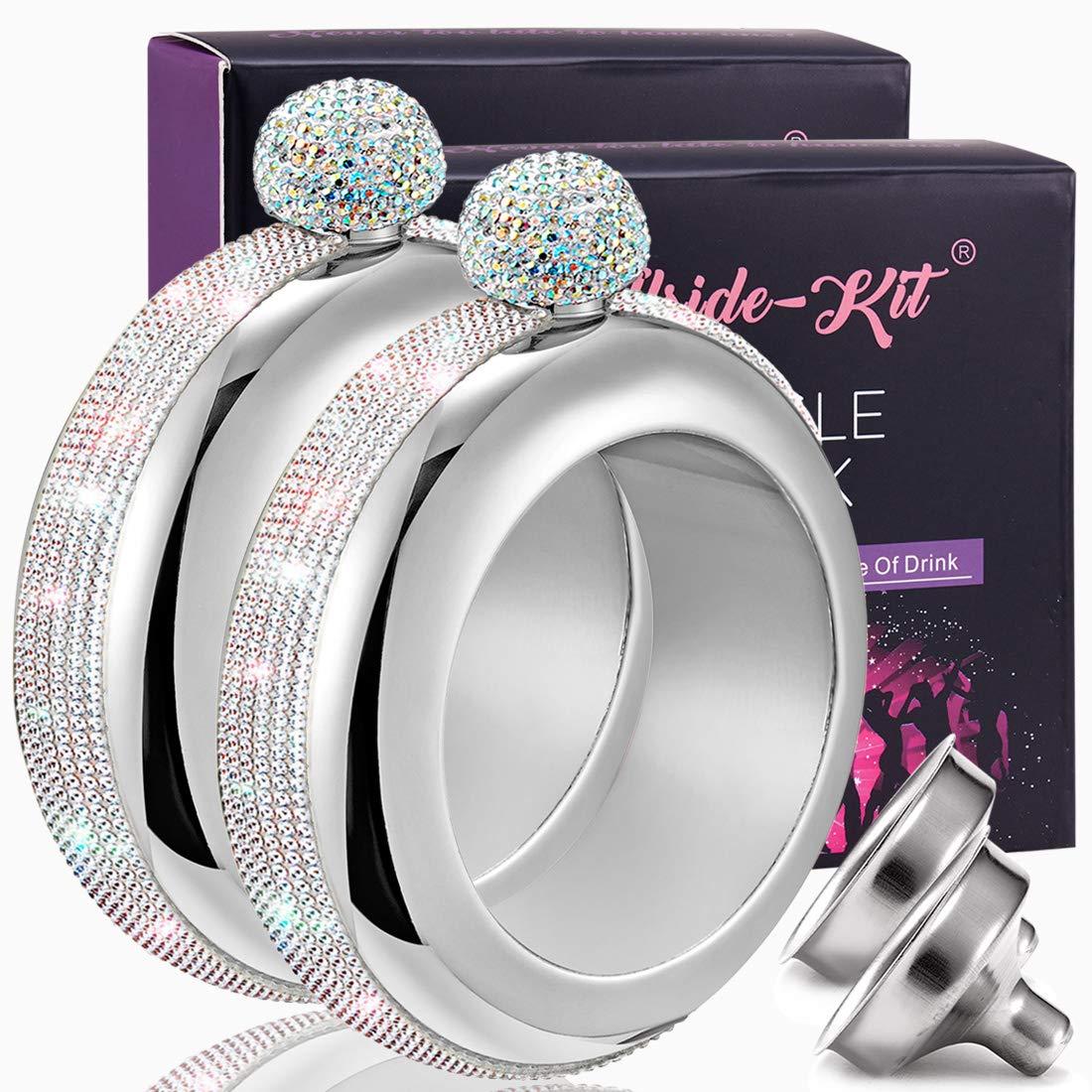 Booze Shot Flask Bangle Bracelet- AB Crystal Lid Creative 304 Stainless Steel Wine Alcohol Liquor Flask bracelet for Women Girls Party Hidden Flask Set 3.5OZ-2PCS (silver stones-2)