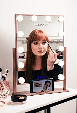 Vanity Mirror With Lights and Phone Mount - Hollywood Style Makeup Vanity Mirror with Lights 12x3W Dimmable LEDs with Touch Control, Clock and Phone Cradle | Tabletop Lighted Cosmetic Mirrors