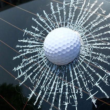 Porfeet Auto Aufkleber Lustige 3d Golfball Hit Fenster Riss Auto Windschutzscheibe Aufkleber Aufkleber Dekoration Weiß Sport Freizeit