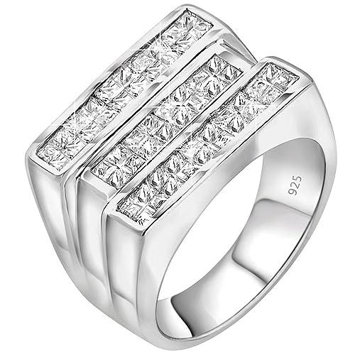 Sterling Manufacturers Anillo de Triple Fila para Hombre de Plata de Ley 925, con Bonitas Piedras Blancas Invisibles, circonita cúbica (CZ), ...