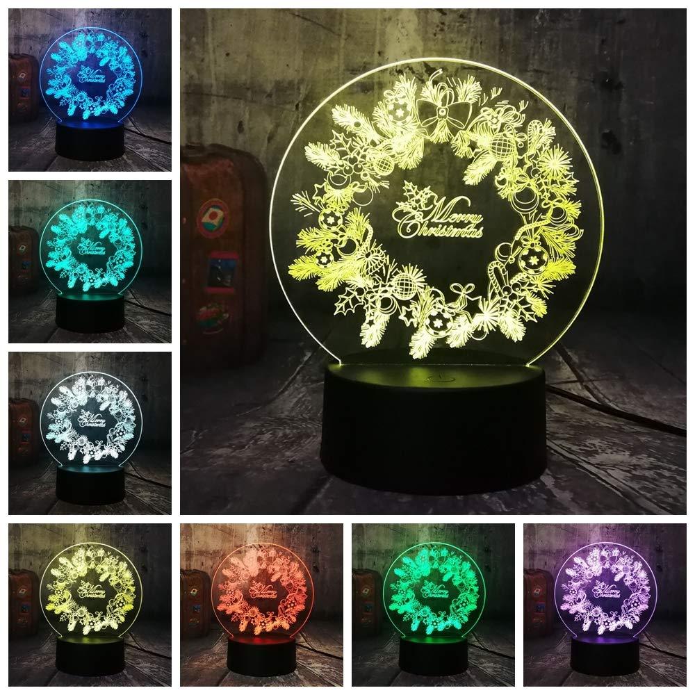 Guirnalda de Navidad de Año Nuevo 3D Lámpara de noche de ...
