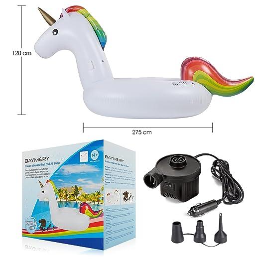 Unicornio Hinchable XXL 275cm y Bomba de aire eléctrica, Colchonetas Piscina Unicornio Flotador Piscina Para Adultos Flotadores PVC piscina juguetes ...
