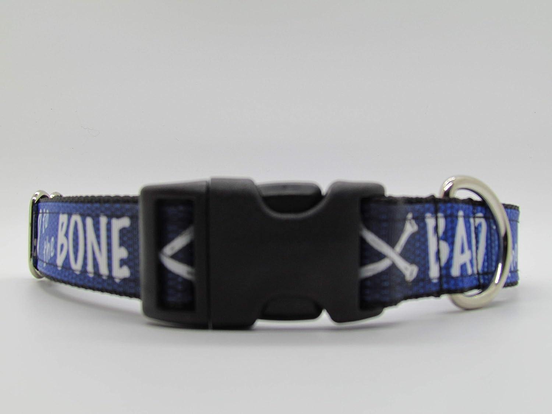 Blue Dog Collar Doggie Stylz Bad to the Bone