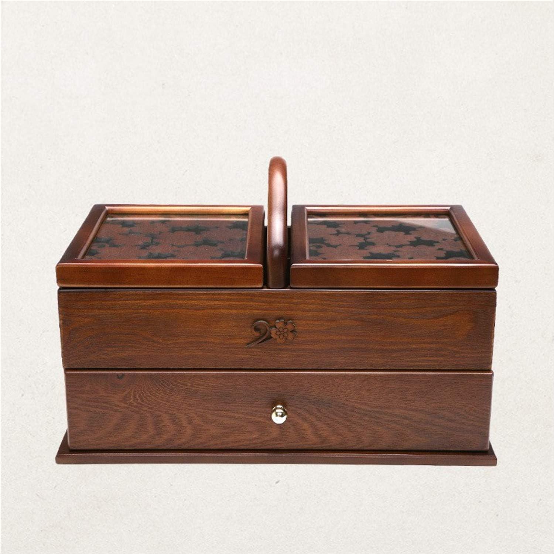 SUWIN Color Antiguo portátil Tallado Tipo de cajón de Madera para ...