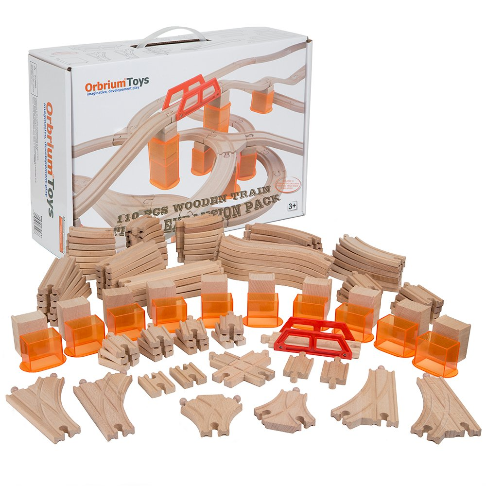 Orbrium Toys Multi-Level 110 Piece Wooden Train Bulk Track Expansion Pack with Stackable Track Riser Stabilizers Compatible with Thomas The Tank Engine Brio Chuggington Melissa & Doug Imaginarium Set