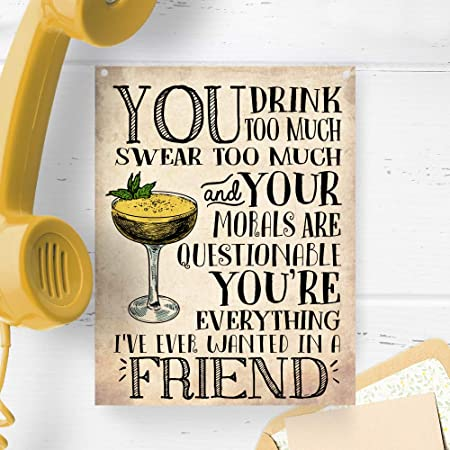 You drink too much swear too much Morals Friends Small Metal Tin Sign