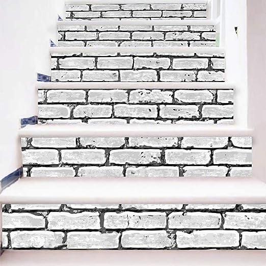 HYXLN 3D pegatinas de escalera de pared de ladrillo ...