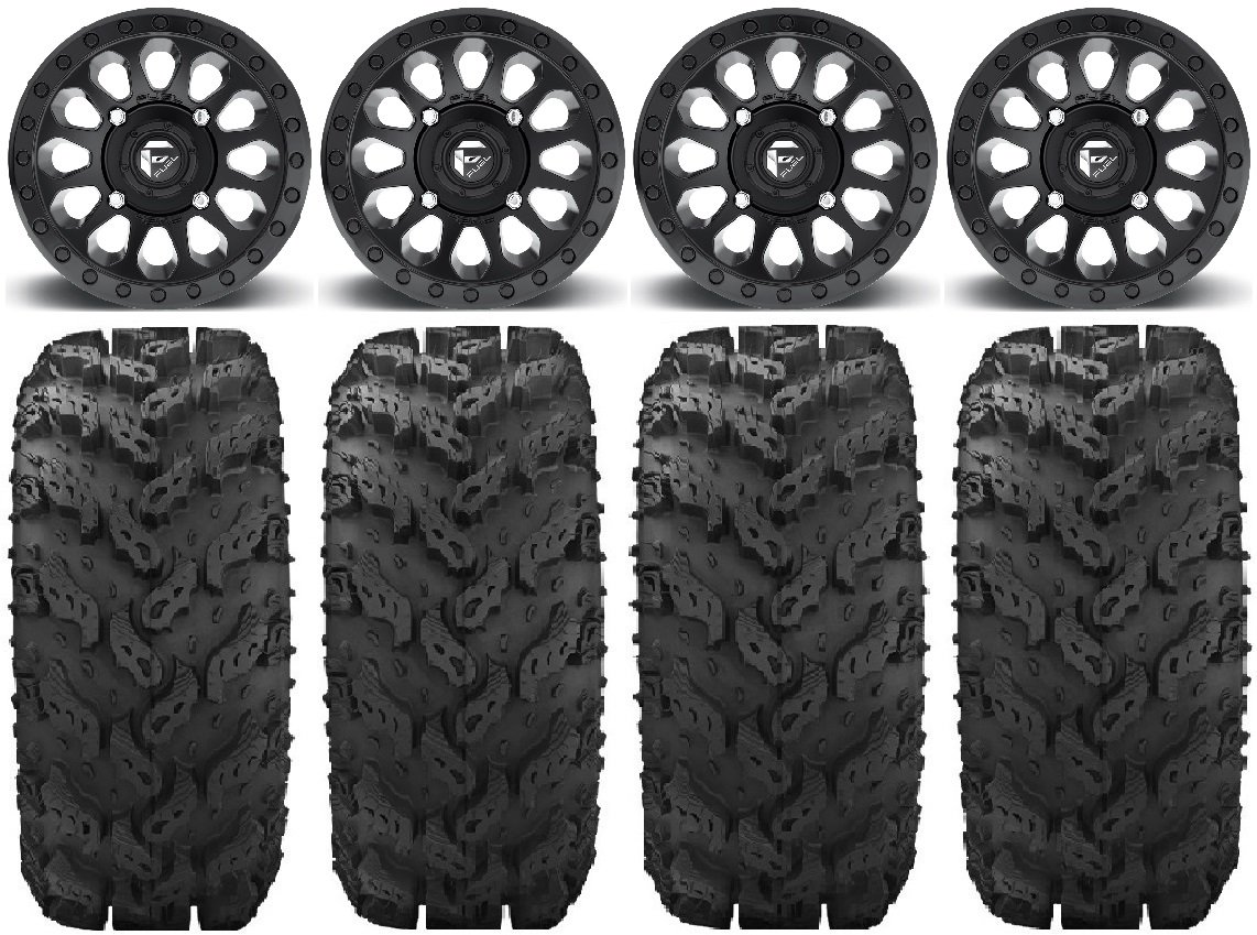 Bundle - 9 Items: Fuel Vector MB 14'' Wheels 28'' Reptile Tires [4x137 Bolt Pattern 10mmx1.25 Lug Kit]