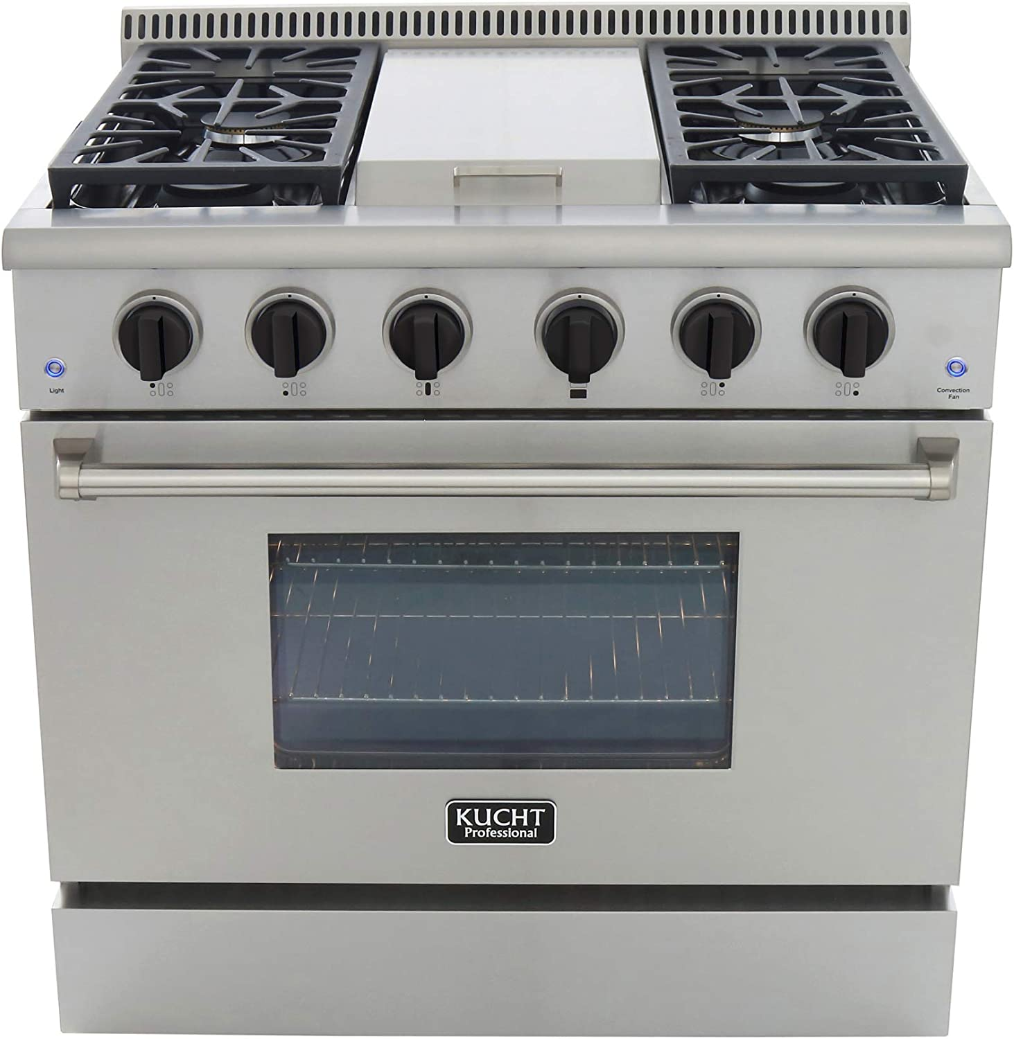 "Kucht KRG3609U/LP-K Professional 36"" 5.2 cu. ft. Propane Gas Range, Stainless-Steel, Tuxedo Black"