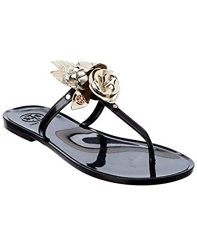 Tory Burch Blossom Jelly T-Strap Sandal in, Black, Spark Gold, Size