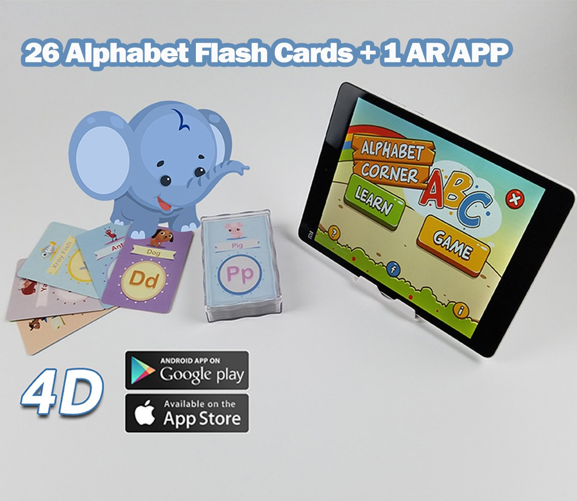 Alphabet Flash AR Cards – Interactive Early Education Learning, Alphabet Order table, Game Steamroll East