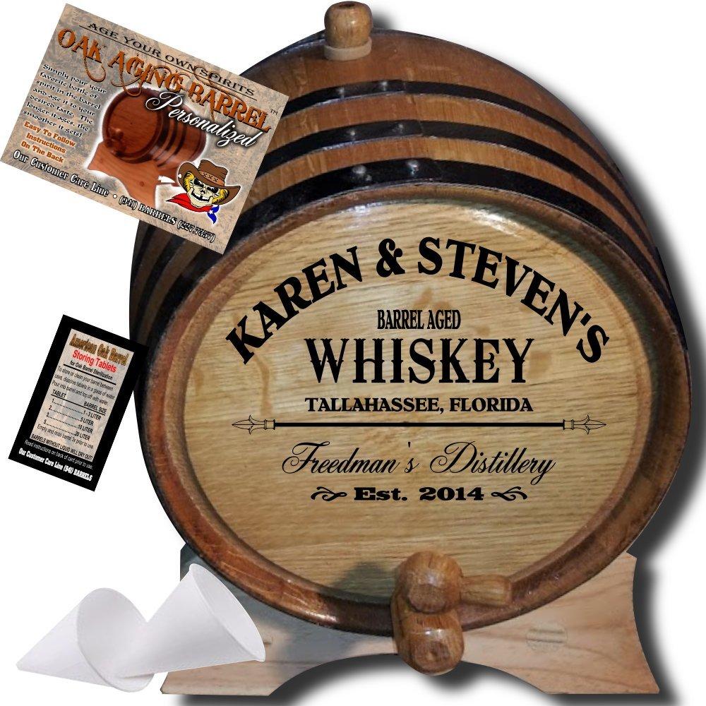 ''MADE BY'' American Oak Barrel - Personalized American Oak Aging Barrel - 2014 Barrel Aged Series - Design 063: Barrel Aged Whiskey (3 Liter)