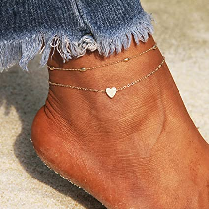 images détaillées nouveaux styles la clientèle d'abord Yesiidor de cheville en or motif cœur Chaîne de cheville à ...