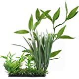 GTidea Aquarium Ornament Large Fish Tank Plastic Underwater Plant Silk Green Grass Leaves for Home Office Saltwater Freshwater Tropical Tank Decorations in 12.4 Inch