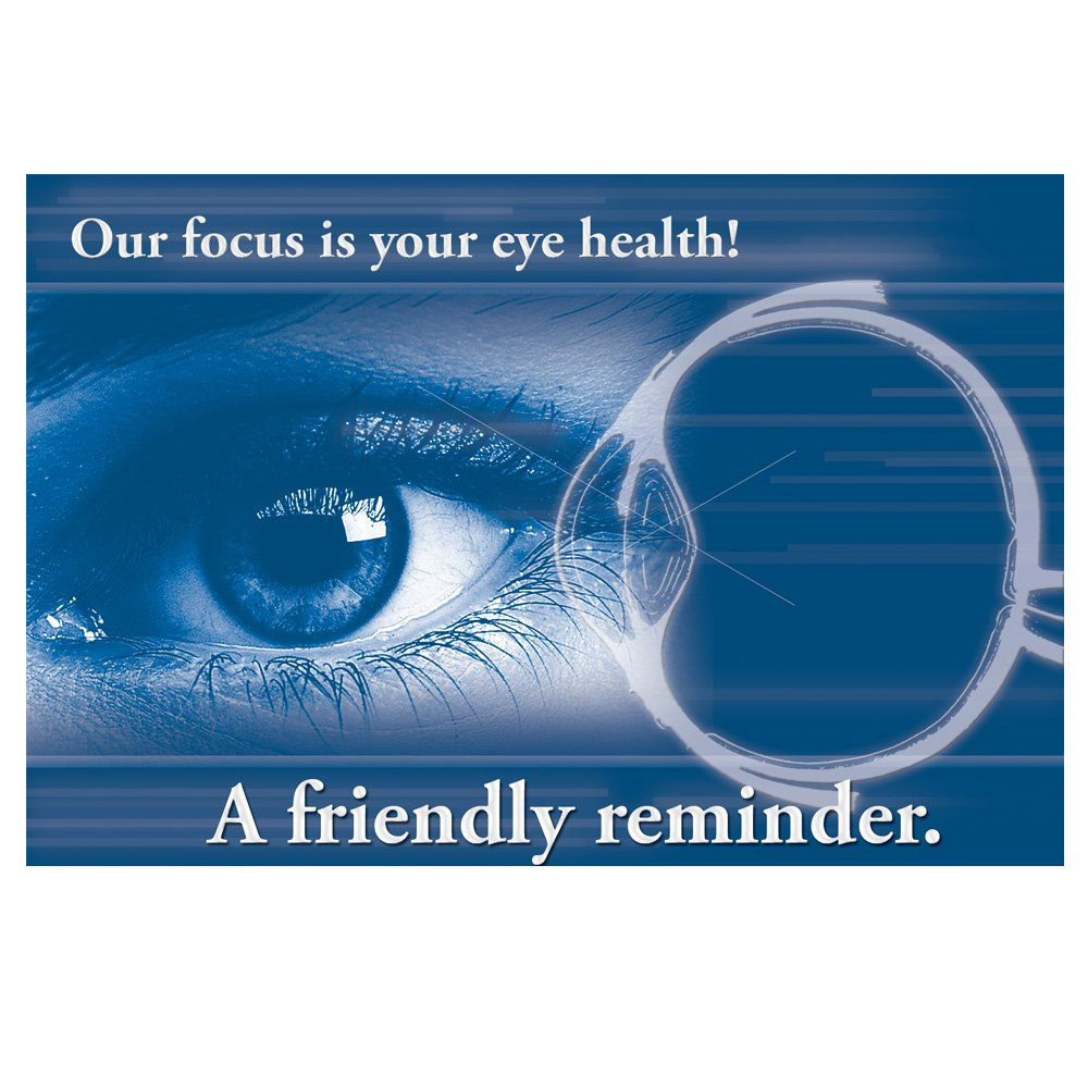 Appointment Reminder Postcards for Optometrists. Customize Card Back with Practice Info. 4''x6'' Card, Full Color Front with High Gloss UV Coating, Black Text on Back, Sturdy 14 Pt. Card Stock. (2500)
