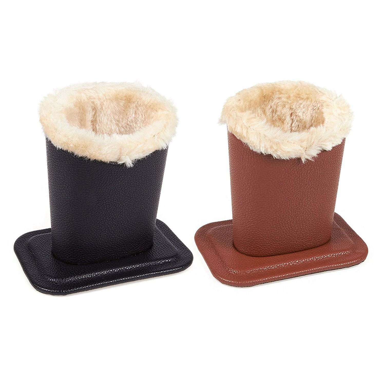 Juvale Pack of 2 Eyeglass Holders - Eyeglass Stands with Soft Plush Lining - Eyeglass Holder Stands, 4.5 x 4.7 x 3.2 Inches, Black, Brown