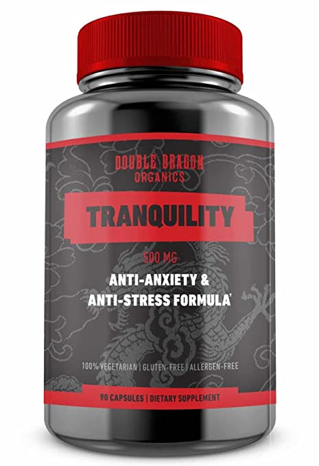 Anti Anxiety Stress Support Supplement for Anxiety Relief, Mental Focus, Memory & Cognitive Function, Reduce Stress by Increasing Serotonin Without Feeling Tired - Double Dragon Organics