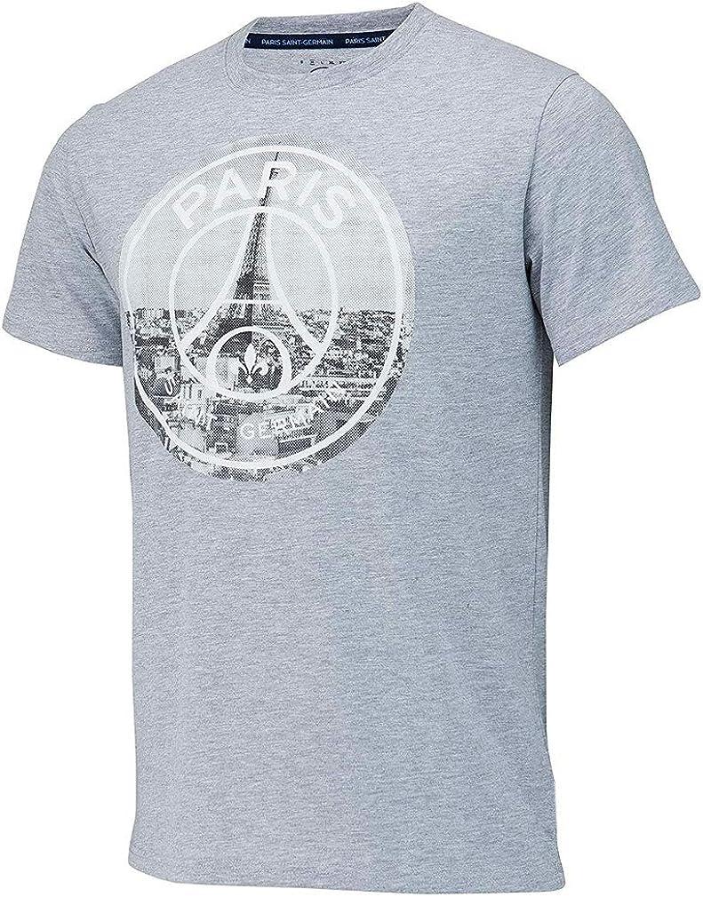 Psg Official Paris Saint Germain Eiffel Tower Men S T Shirt Grey Amazon Com
